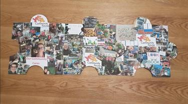 Yea Community House, Nat and Carlie have enjoyed making photo collage puzzle pieces